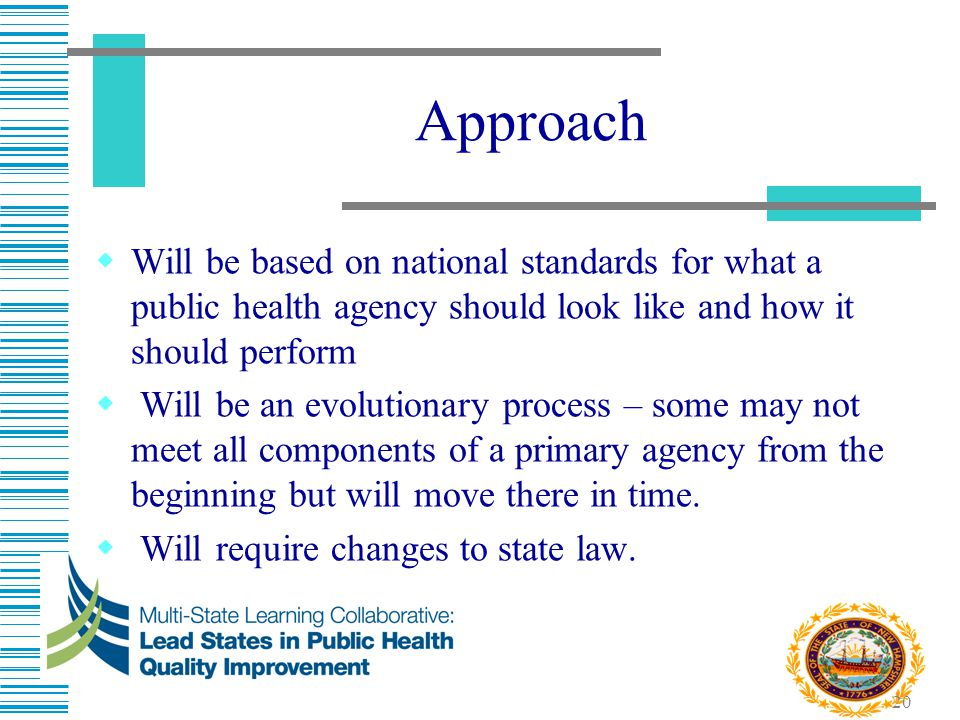 Approach Will be based on national standards for what a public health agency should look like and how it should perform.