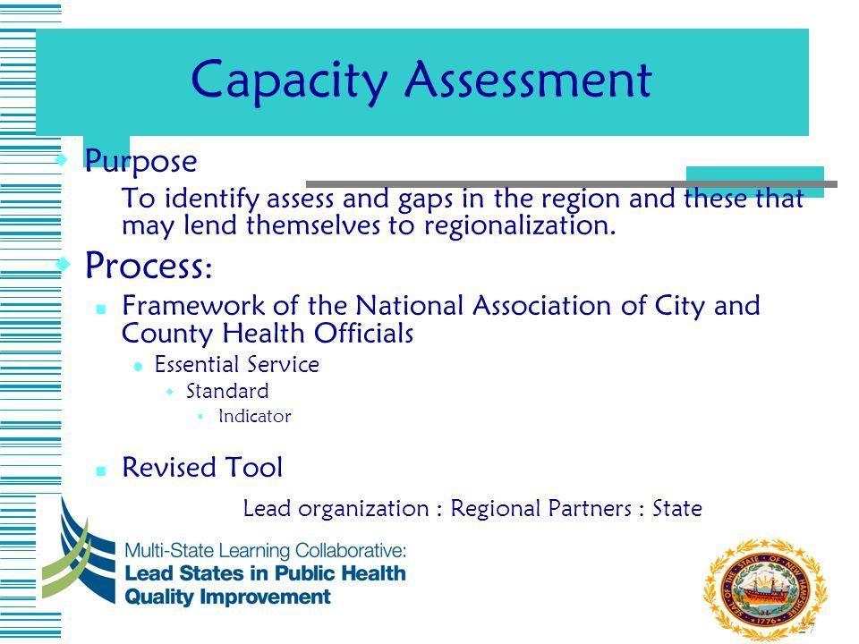 Lead organization : Regional Partners : State