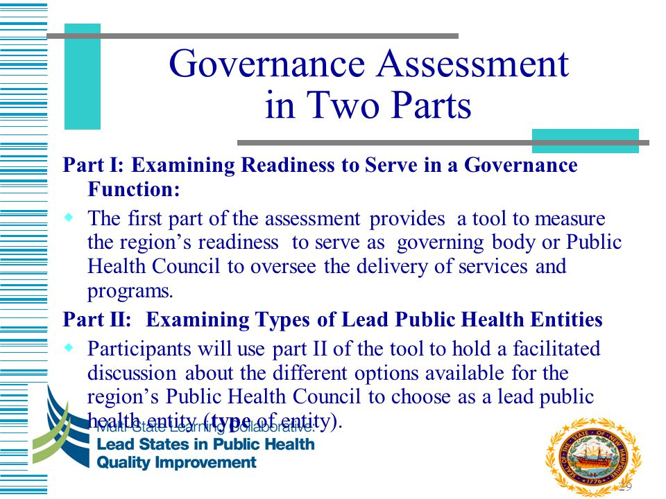 Governance Assessment in Two Parts