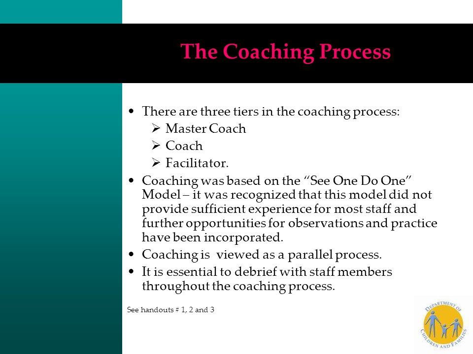 The Coaching Process There are three tiers in the coaching process: