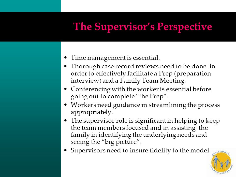 The Supervisor's Perspective