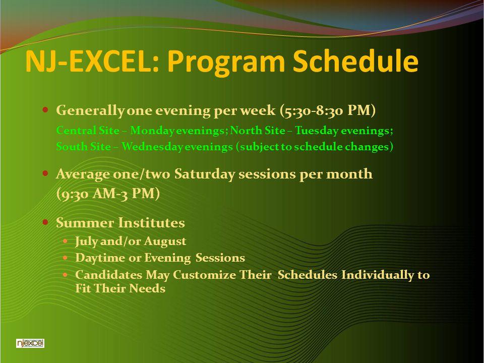 NJ-EXCEL: Program Schedule