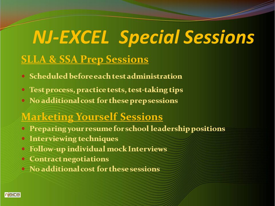 NJ-EXCEL Special Sessions