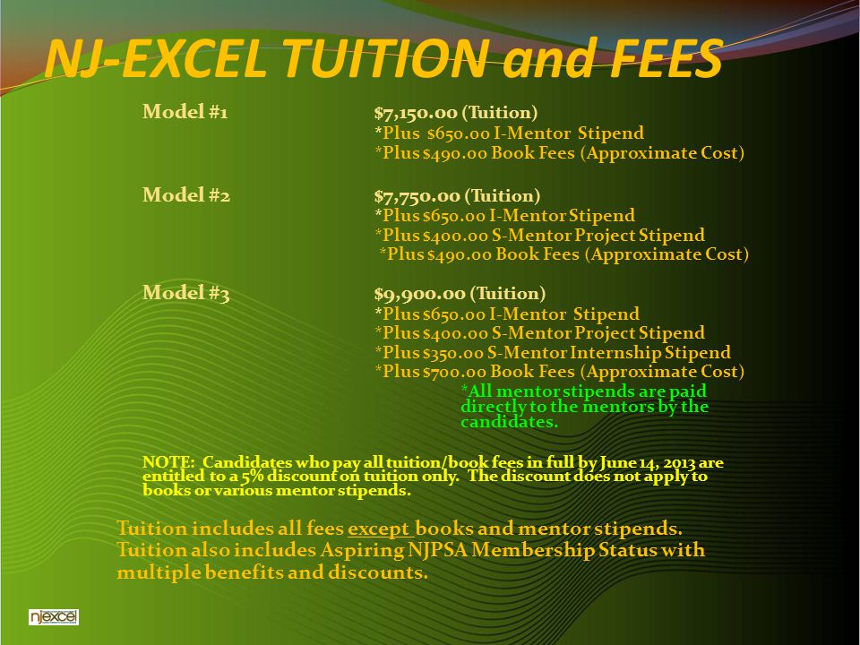 NJ-EXCEL TUITION and FEES