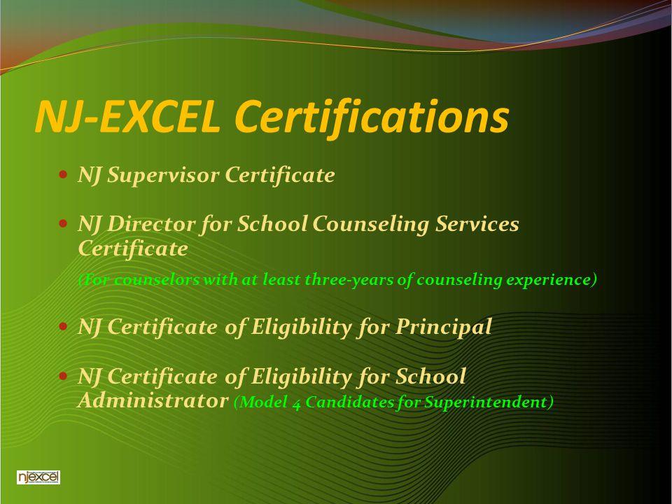 NJ-EXCEL Certifications