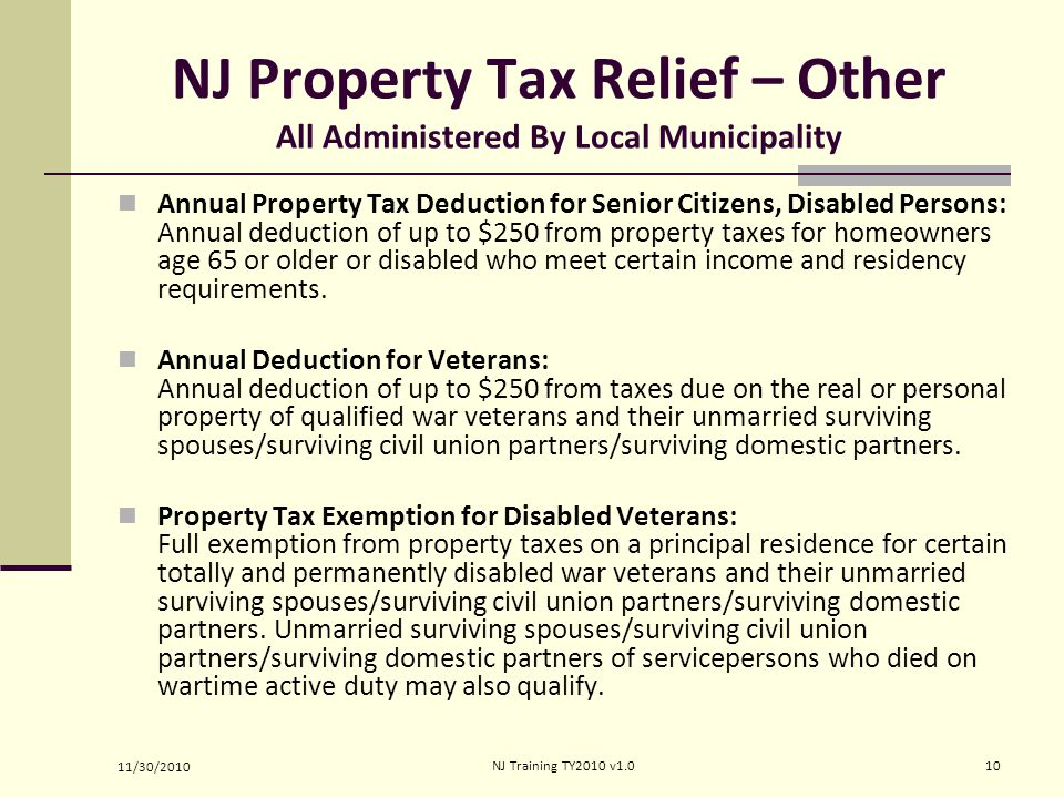 NJ Property Tax Relief – Other All Administered By Local Municipality