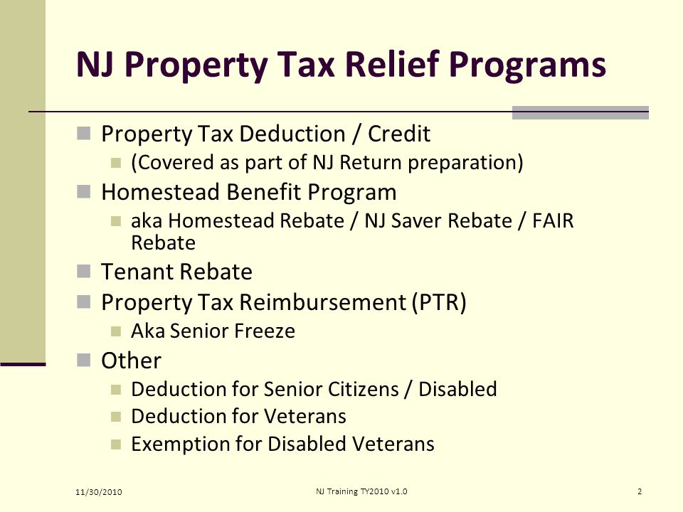 NJ Property Tax Relief Programs