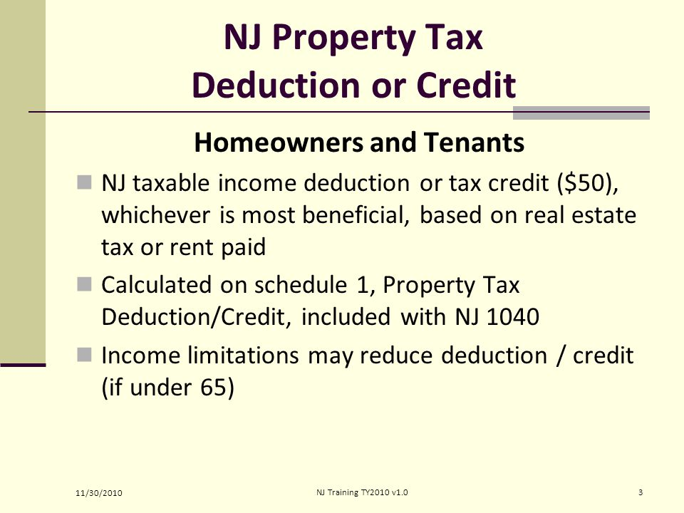 NJ Property Tax Deduction or Credit