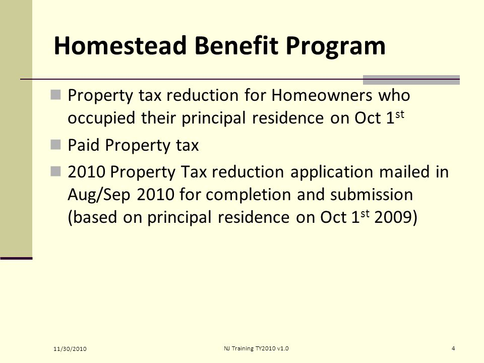Homestead Benefit Program