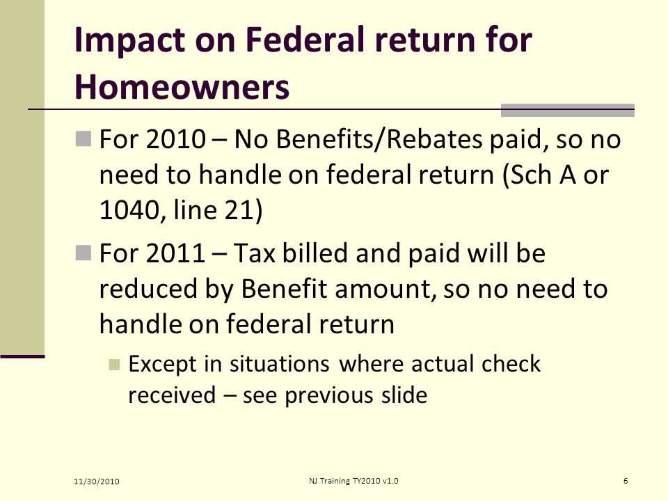 Impact on Federal return for Homeowners