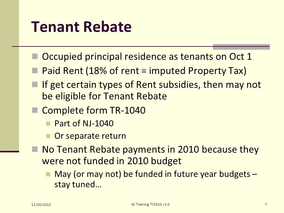 Tenant Rebate Occupied principal residence as tenants on Oct 1