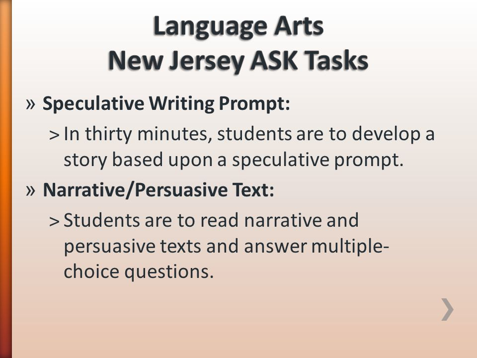 Language Arts New Jersey ASK Tasks
