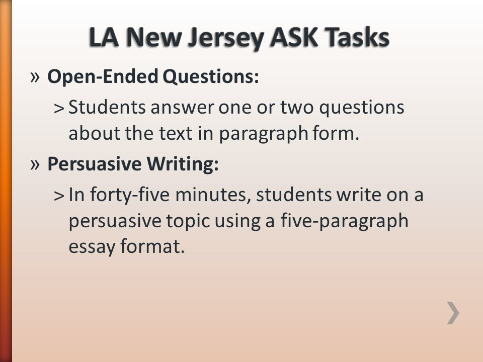 LA New Jersey ASK Tasks Open-Ended Questions: