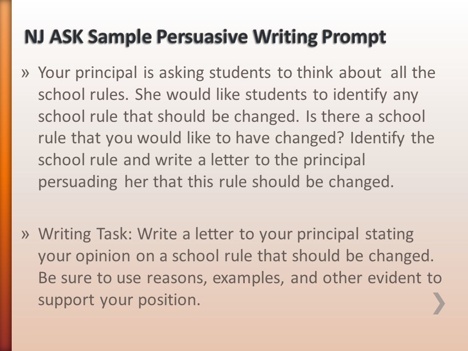 NJ ASK Sample Persuasive Writing Prompt