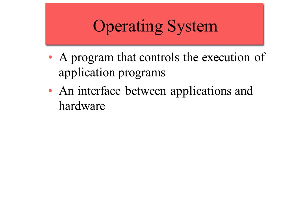 Operating System A program that controls the execution of application programs.