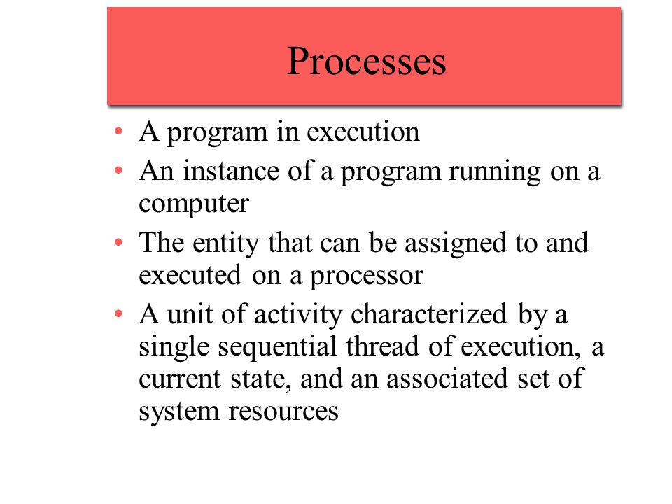 Processes A program in execution