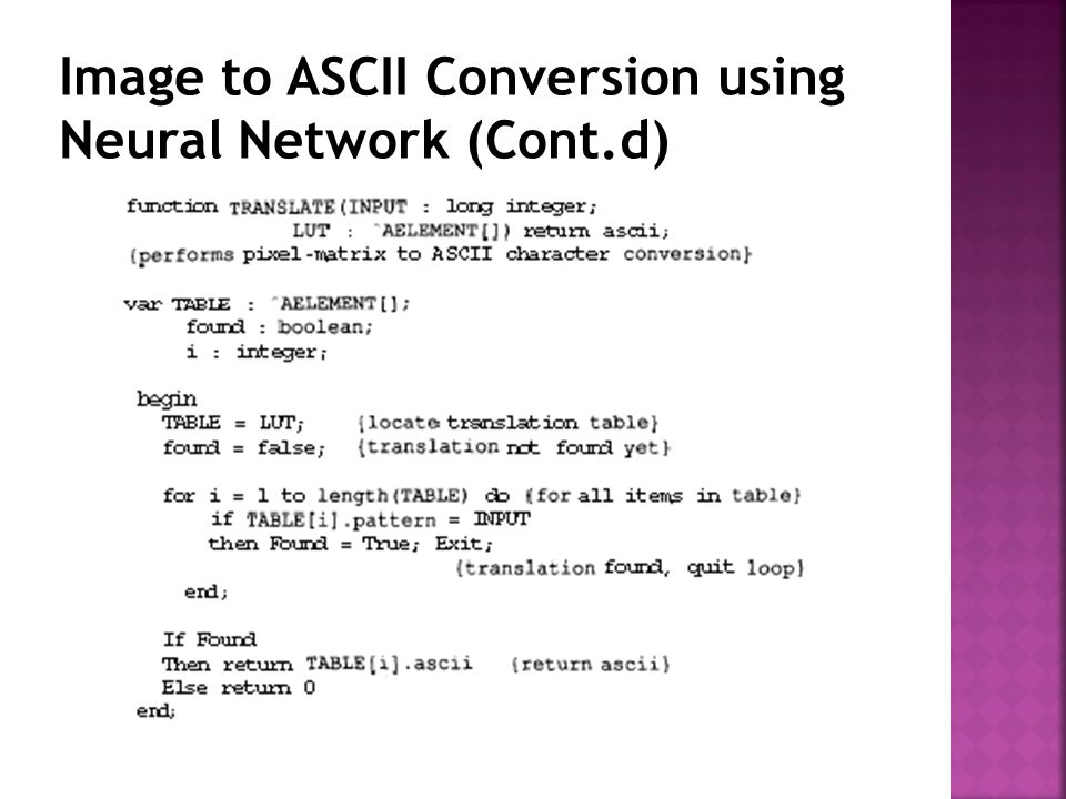 Image to ASCII Conversion using Neural Network (Cont.d)