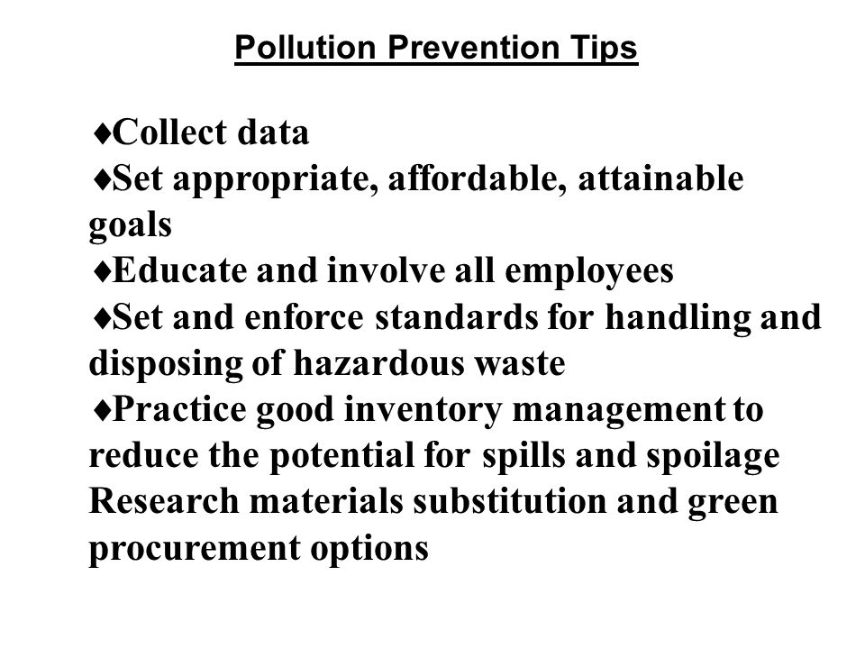 Pollution Prevention Tips