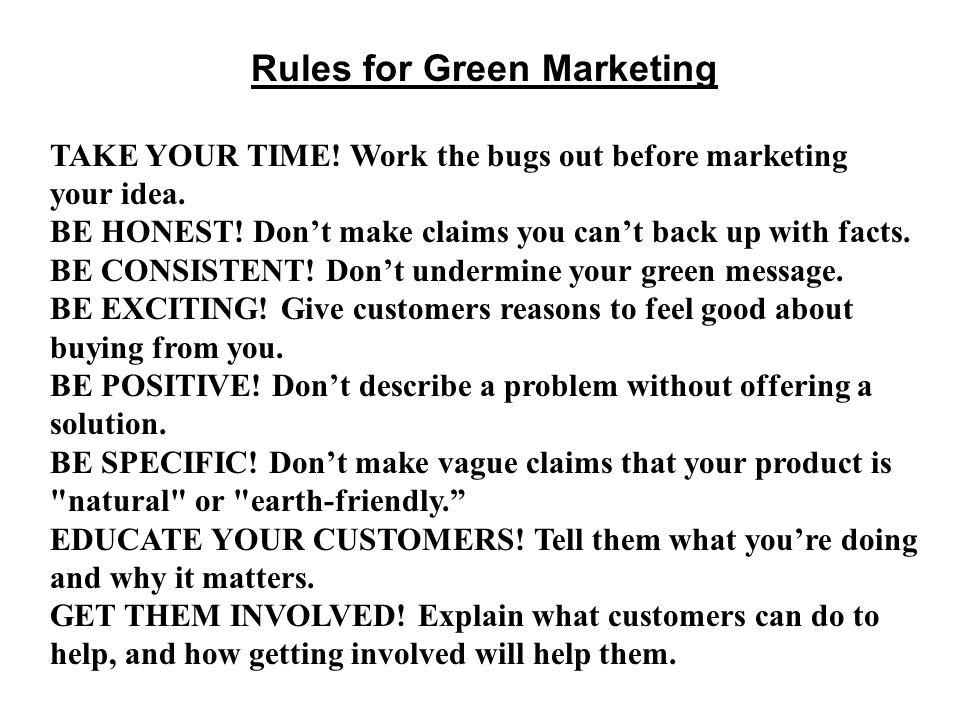 Rules for Green Marketing