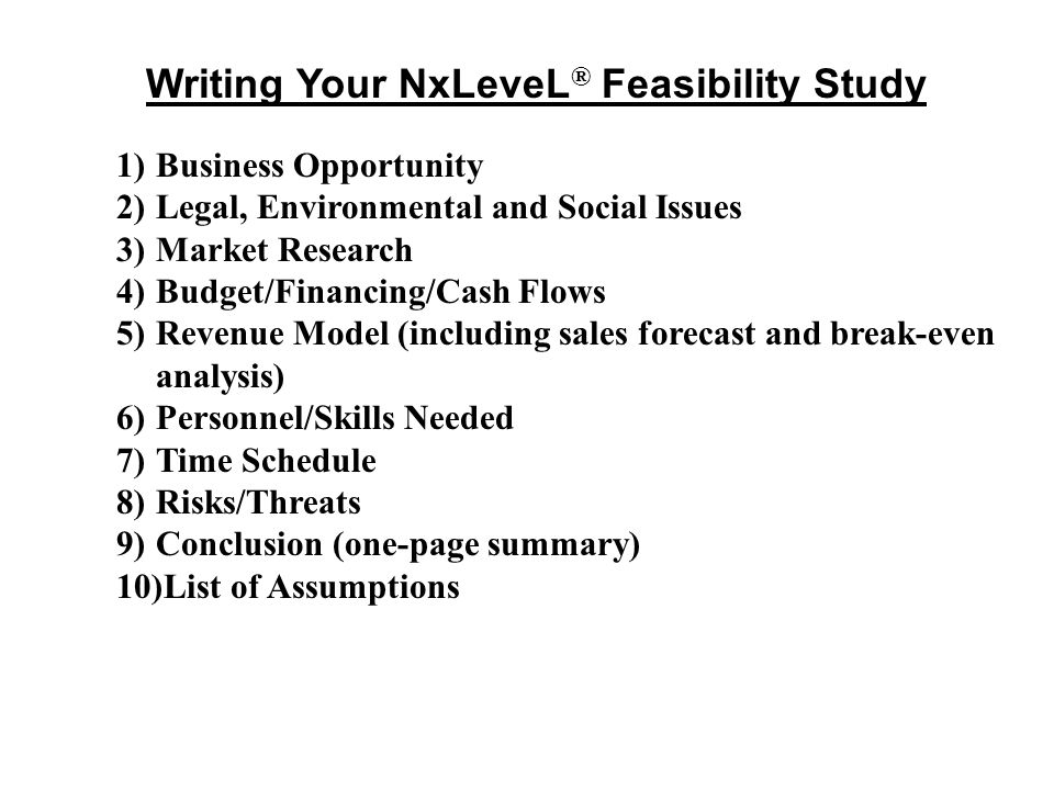 Writing Your NxLeveL® Feasibility Study