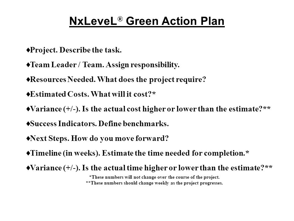 NxLeveL® Green Action Plan