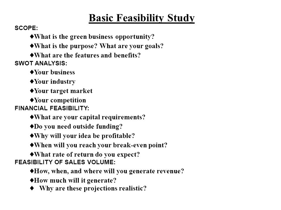 Basic Feasibility Study