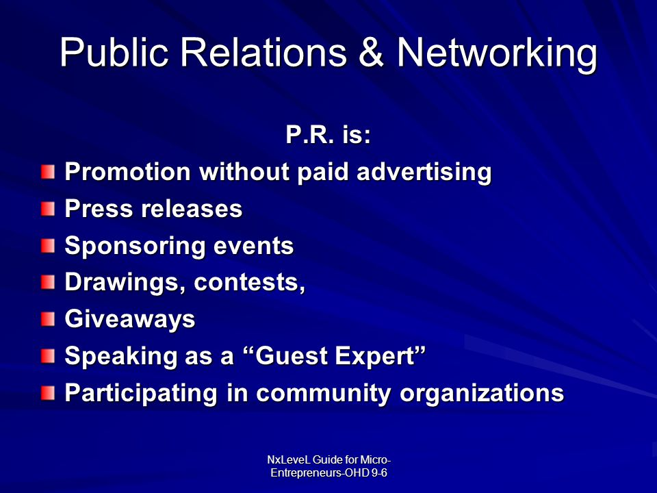 Public Relations & Networking
