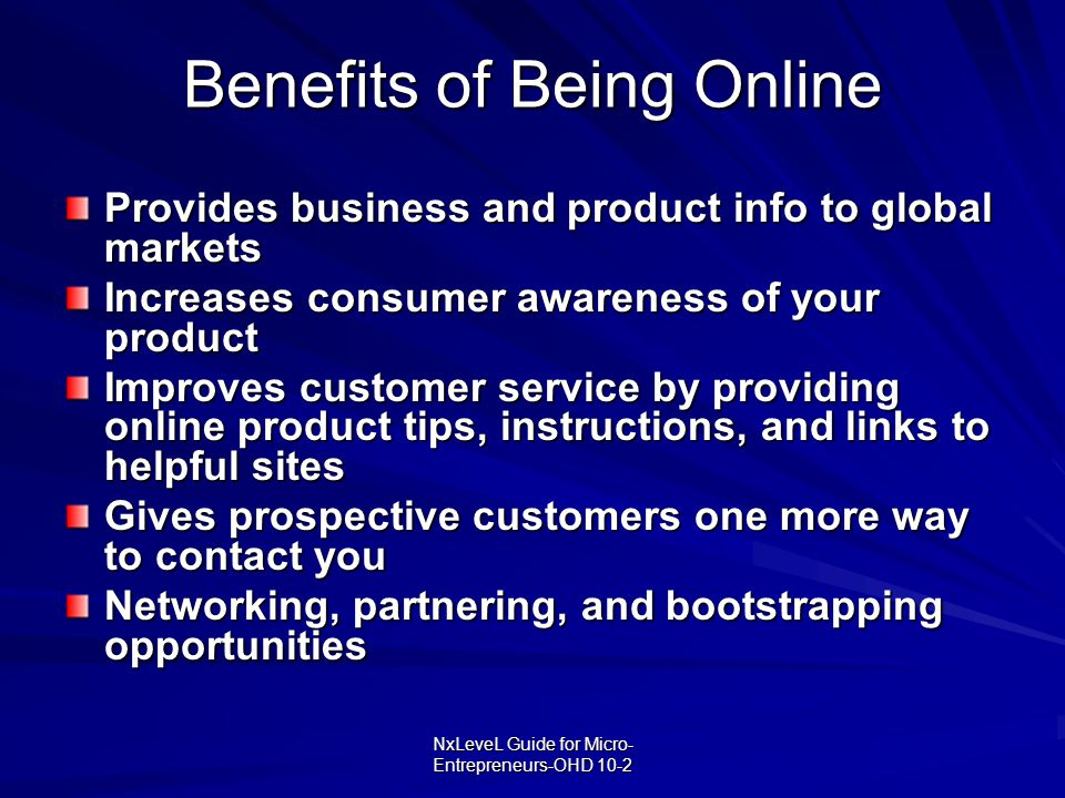 Benefits of Being Online