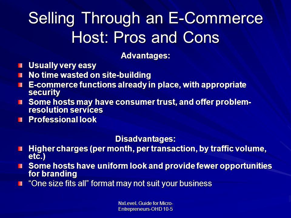 Selling Through an E-Commerce Host: Pros and Cons
