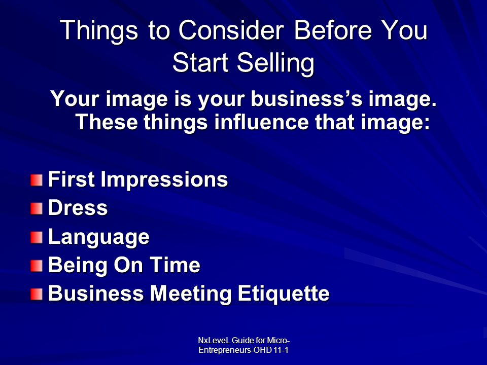 Things to Consider Before You Start Selling