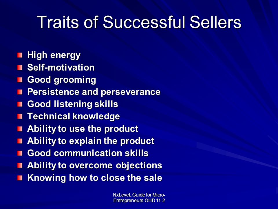 Traits of Successful Sellers
