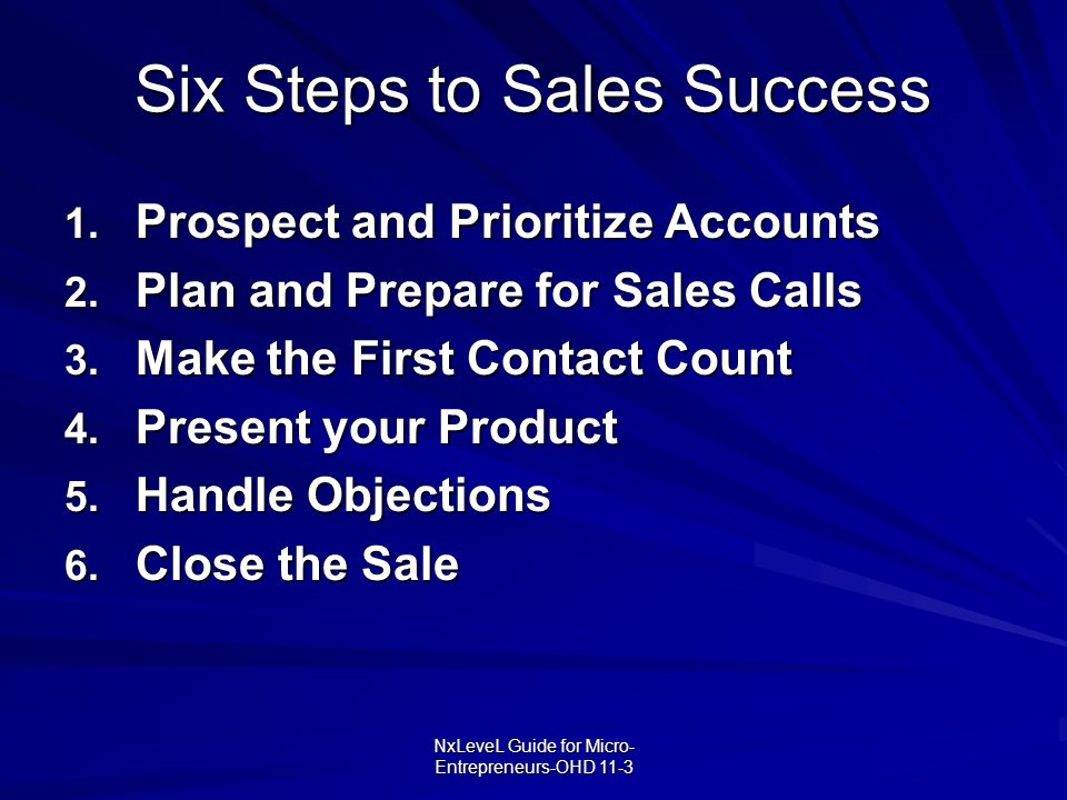 Six Steps to Sales Success