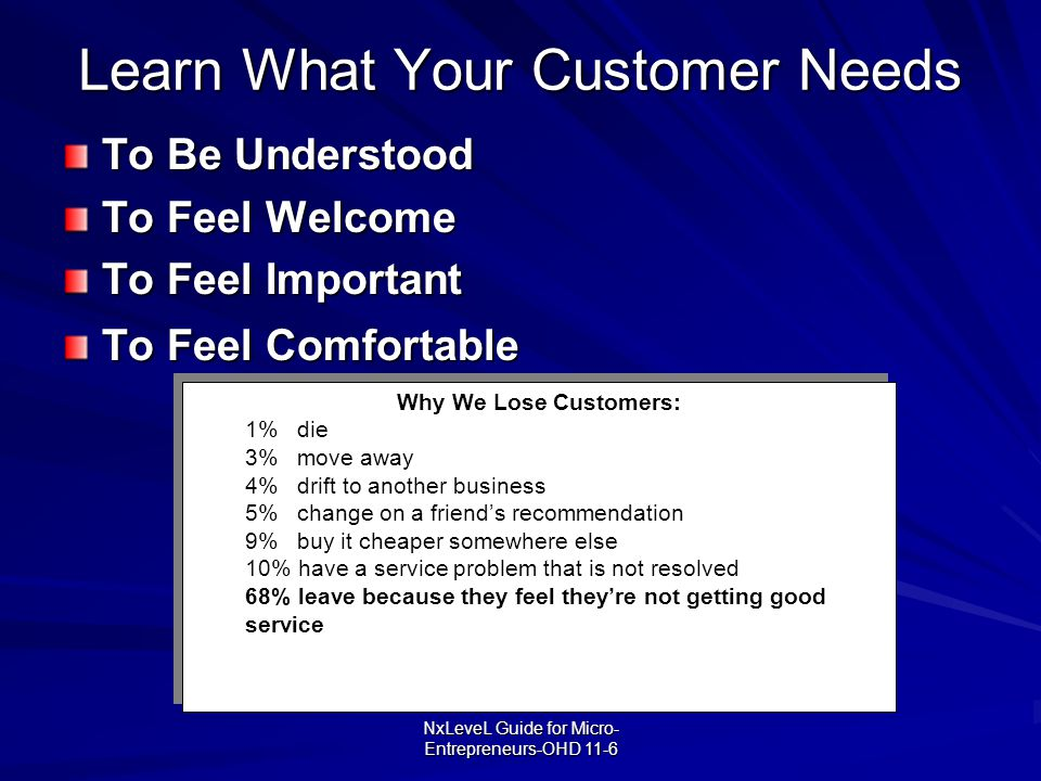 Learn What Your Customer Needs