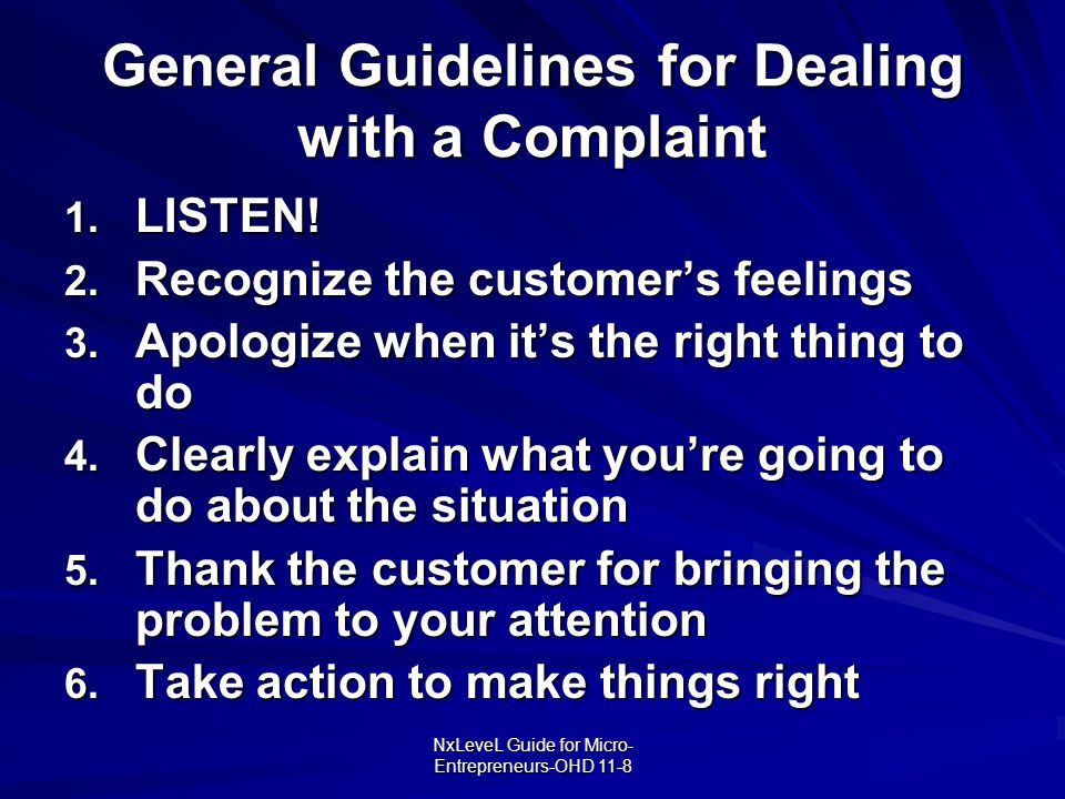 General Guidelines for Dealing with a Complaint