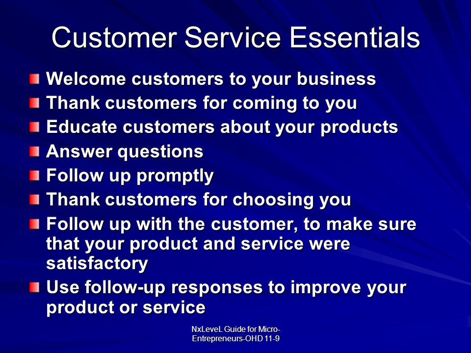 Customer Service Essentials