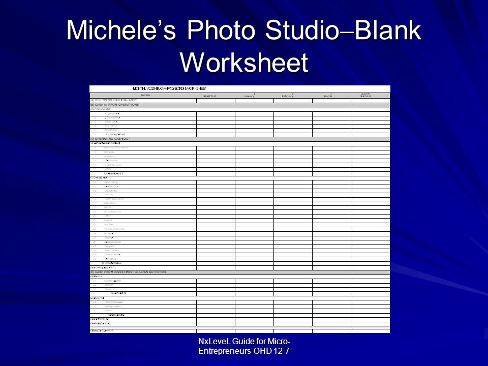 Michele's Photo StudioBlank Worksheet