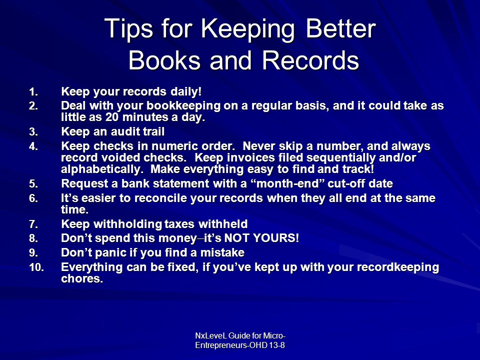 Tips for Keeping Better Books and Records