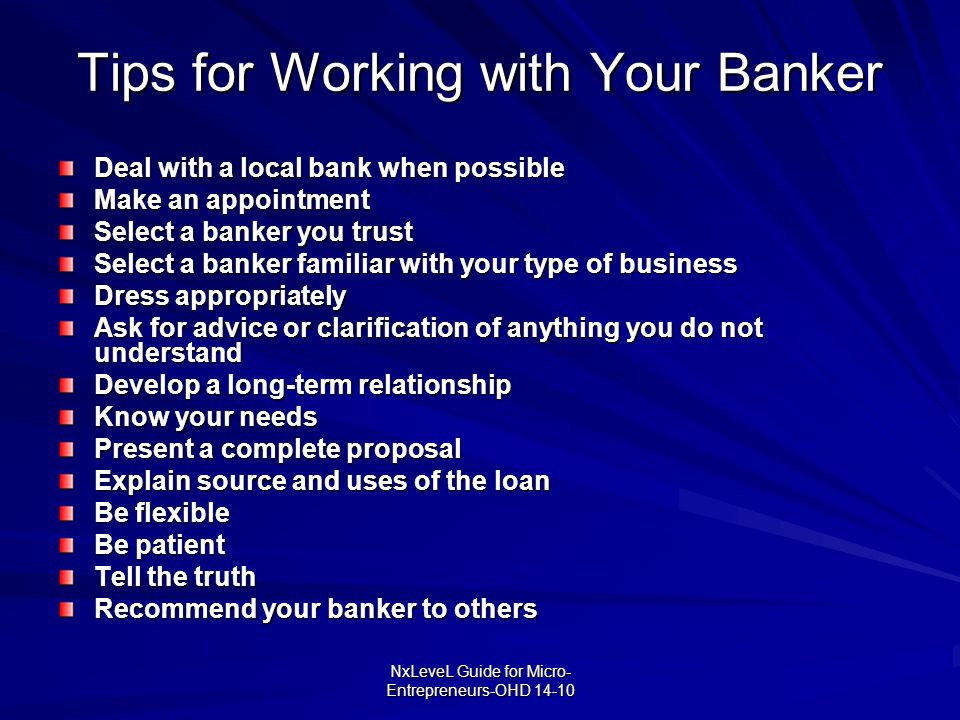 Tips for Working with Your Banker