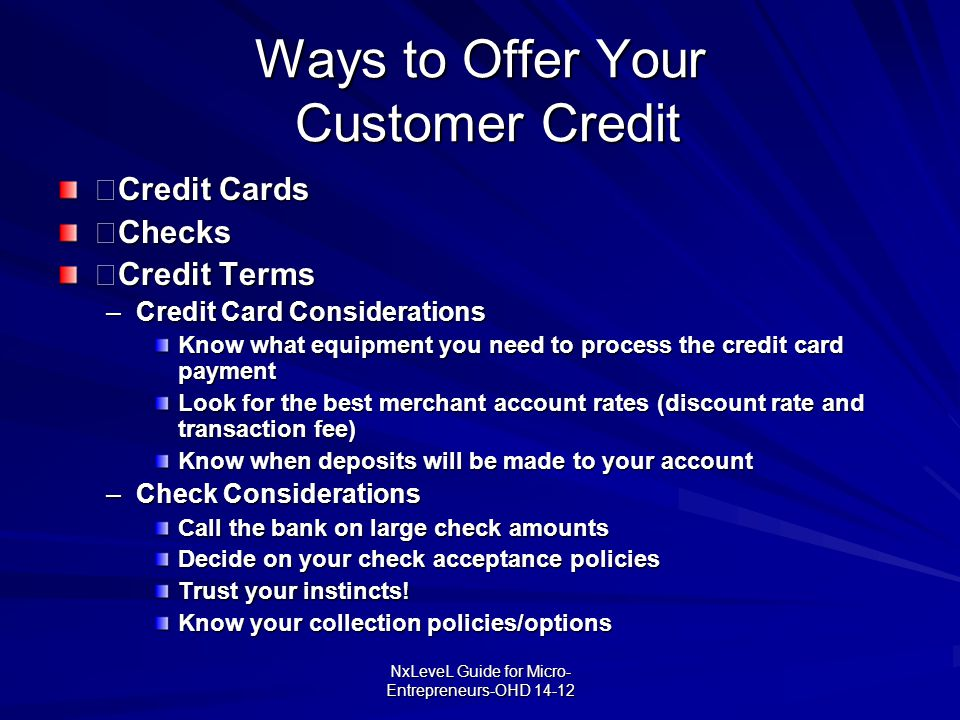 Ways to Offer Your Customer Credit