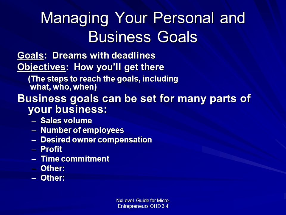 Managing Your Personal and Business Goals