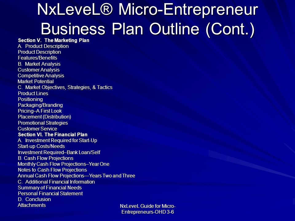 NxLeveL® Micro-Entrepreneur Business Plan Outline (Cont.)
