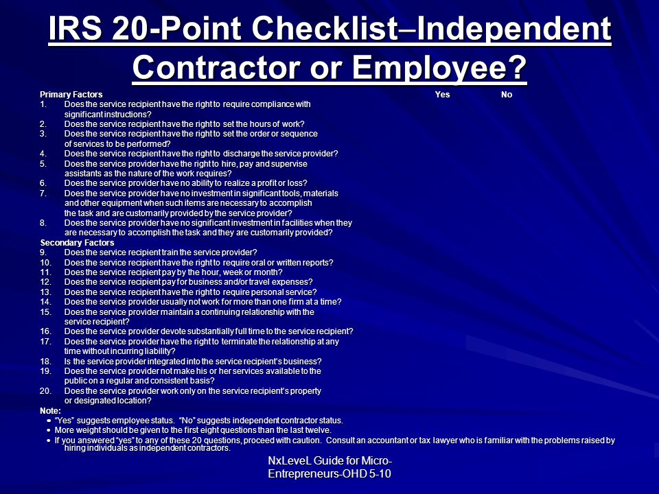 IRS 20-Point ChecklistIndependent Contractor or Employee