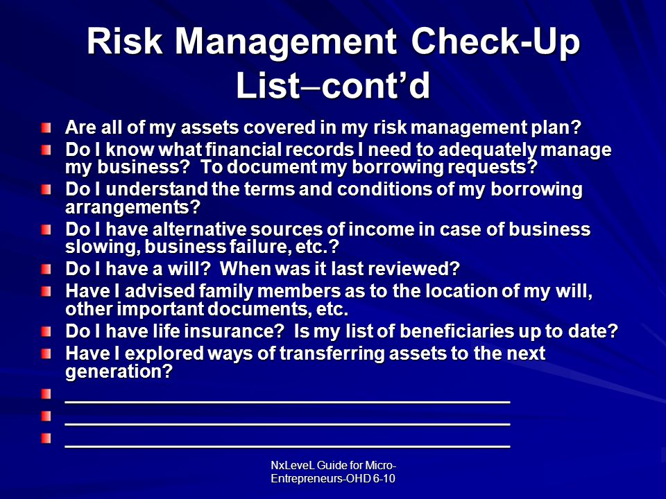 Risk Management Check-Up Listcont'd