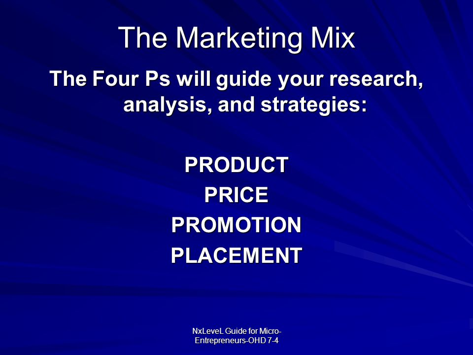 The Four Ps will guide your research, analysis, and strategies: