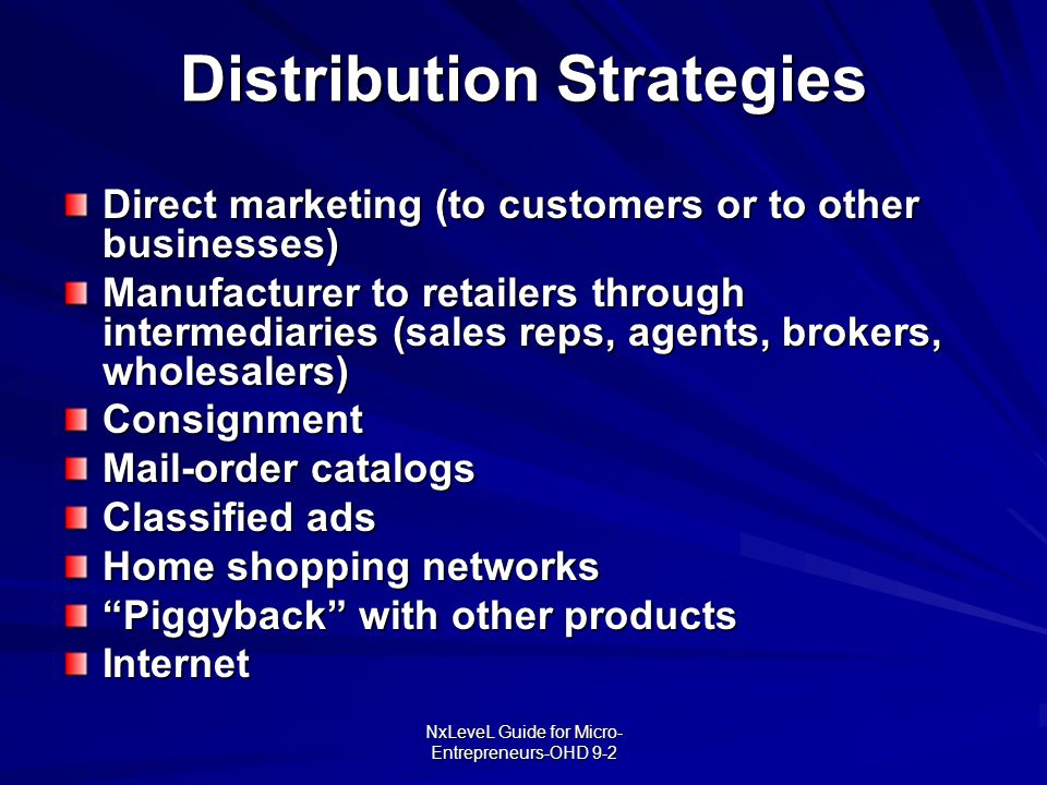 Distribution Strategies
