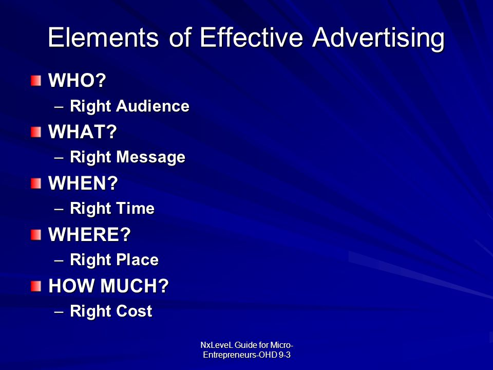 Elements of Effective Advertising