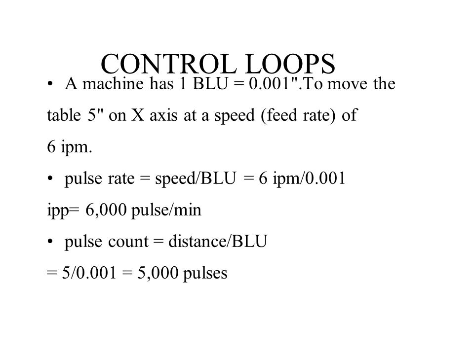 CONTROL LOOPS A machine has 1 BLU = 0.001 .To move the