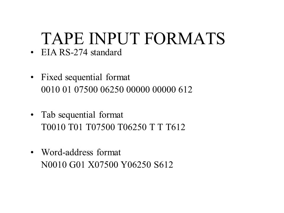 TAPE INPUT FORMATS EIA RS-274 standard Fixed sequential format