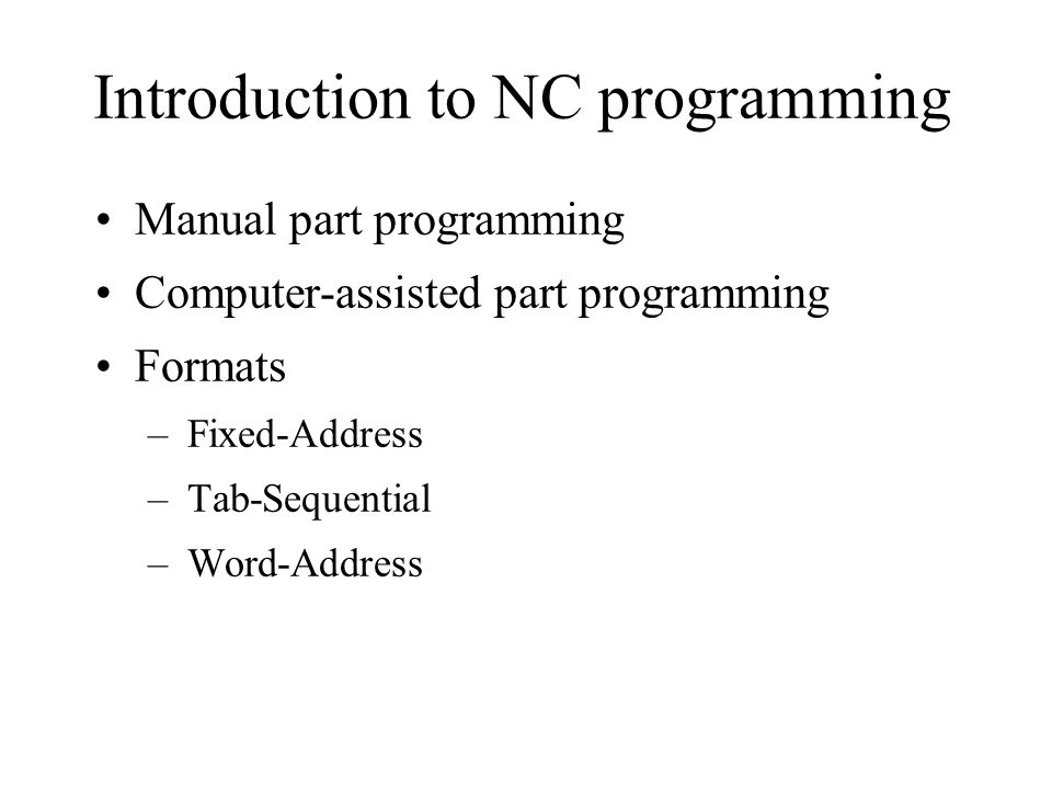 Introduction to NC programming
