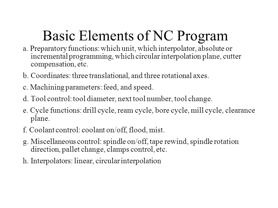 Basic Elements of NC Program
